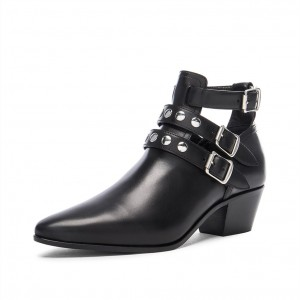 Black Buckles Studs Block Heels Pointy Toe Boots