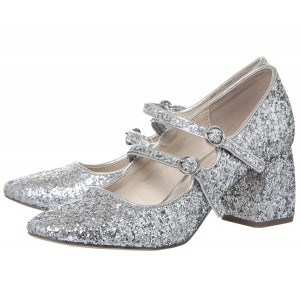 Silver Block Heel Glitter Mary Jane Shoes