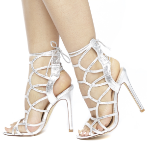 Silver Caged Evening Shoes Lace Up Stiletto Heels Sandals