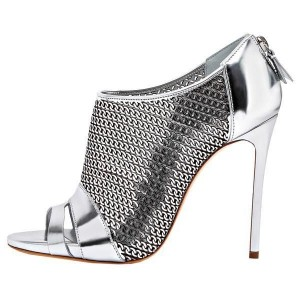 Silver Chains Pattern Stiletto Heel Peep Toe Booties