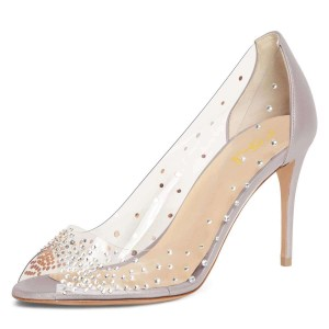 Silver Clear Heels Rhinestone Peep Toe Stiletto Heel Pumps
