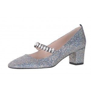 Silver Crystal Rhinestone Mary Jane Block Heels Pumps