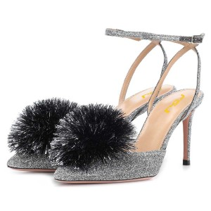 Silver Pom Pom Stiletto Heels Pumps