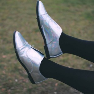 Silver Holographic Shoes Flat Loafers for Women