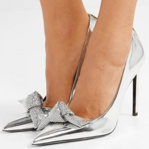Silver Metallic Bowknot Rhinestones Stiletto Heels Pumps
