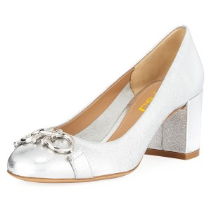 Silver Omega Metal Block Heels Pumps