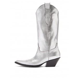 Sliver Pointy Toe Cowgirl Boots Chunky Heel Mid Calf Boots