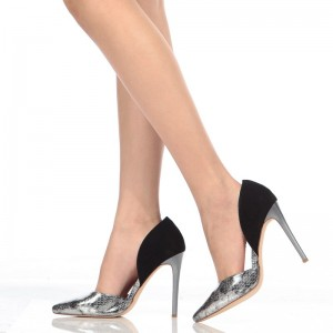 Silver Python and Black Stiletto Heels Pumps