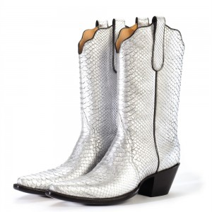 Silver Python Cowgirl Boots Chunky Heel Mid Calf Boots
