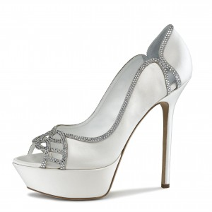 White Rhinestone Hotfix Platform Stiletto Heel Bridal Heels Pumps