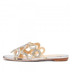 Silver Rhinestone Women's Slide Sandals