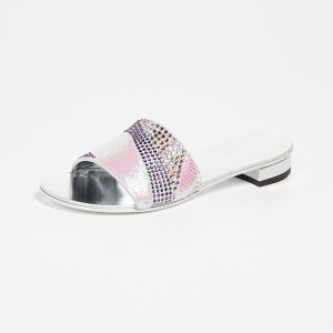 Silver Rhinestones Sequined Slide Sandals