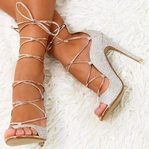 Silver Rhinestones Stiletto Heel Lace Up Sandals