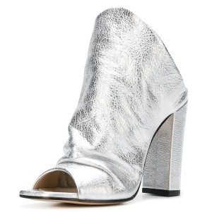 Silver Slouch Peep Toe Chunky Heels Mules