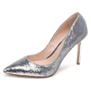 Silver Sparkly Heels Sequined Stiletto Heel Pumps