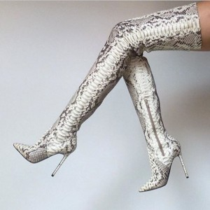 Snakeskin Boots Stiletto Heel Pointy Toe Thigh High Boots