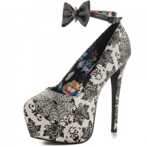 Spider Man Floral Lace Bow Ankle Strap Heels Suede Platform Pumps for Halloween