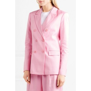 Spring '18 Pink Double-breasted Satin Blazer for Women
