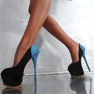 Stripper Heels Black Suede and Blue Python Platform Pumps Shoes