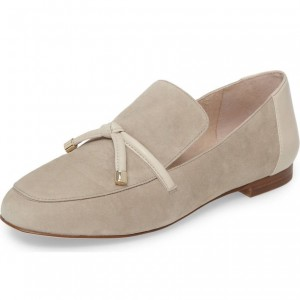 Suede Khaki Round Toe Loafers for Women Office Shoes with Bow