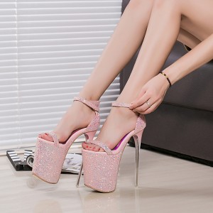 Women's Pink Open Toe Glitter Super Stiletto Heel Pencil Stripper Heels Sandals