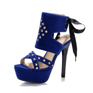 Women's Blue Silver Studs Super Stiletto Heel Stripper Heels
