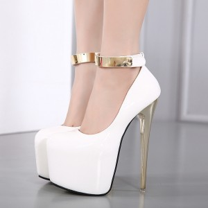 Women's White and Gold Stripper Heels Ankle Strap High Heels Shoes