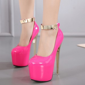 Women's Rose Ankle Strap Super Stiletto Heels Platform Pumps