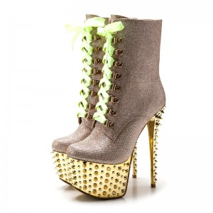 Gold and Champagne Rivets Stripper Shoes Platform Lace Up Ankle Boots