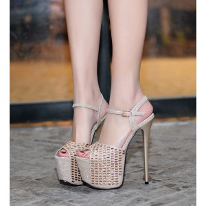 Women's Champagne Glitter Peep Toe Super Stiletto Heel Stripper Heels