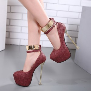 Burgundy Stripper Heels Metal Ankle Strap Stilettos Platform Pumps