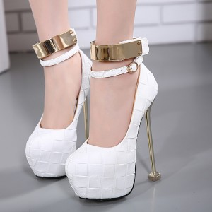 White Sexy Shoes Stiletto Heel Ankle Strap Platform Stripper Heels