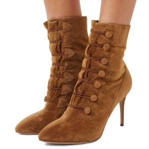 Tan Agraffe Stiletto Boots Ankle Booties