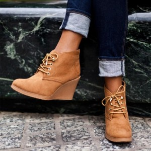 Tan Almond Toe Wedge Booties Lace Up Ankle Boots