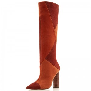 Tan and Brown Suede Chunky Heel Boots Knee High Boots