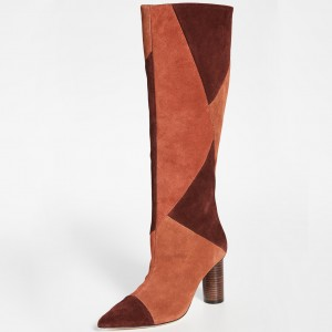 Tan and Maroon Suede Chunky Heel Boots Knee High Boots