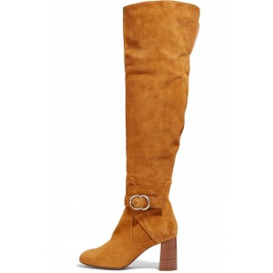Tan Boots Suede Block Heel Fashion Over-the-Knee Long Boots