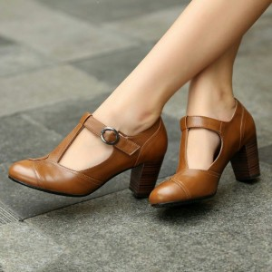 Tan Buckle Block Heel T Strap Pumps
