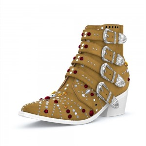 Tan Buckles Rhinestone Studs Fashion Boots Block Heel Ankle Boots
