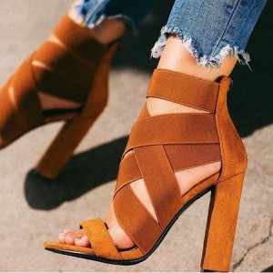 Tan Elastic Strap Chunky Heel Sandals with Zip