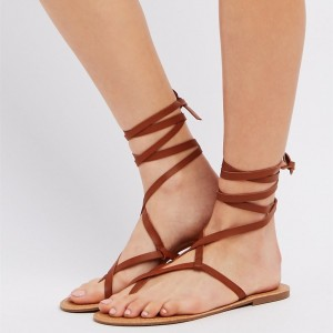Tan Gladiator Sandals Beach Flip Flops Vintage Strappy Sandals
