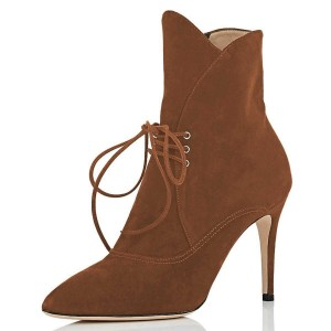 Tan Lace Up Boots Pointy Toe Stiletto Heel Ankle Boots
