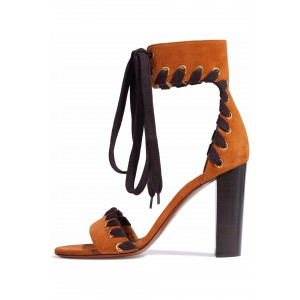 Tan Lace up Suede Open Toe Chunky Heel Sandals
