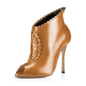 Tan Laciness Fashion Boots Peep Toe Buttoned Stiletto Ankle Booties