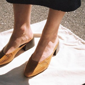 Tan Lizardstripe Mule Closed Toe Low Heel Vintage Shoes US Size 3-15