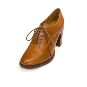 Tan Oxford Heels Round Toe Lace up Block Heel Vintage Shoes