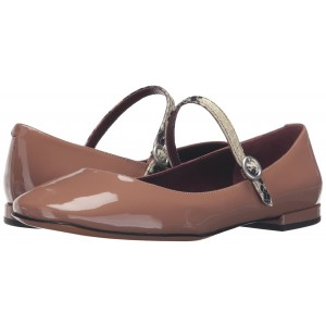 Tan Patent Leather Mary Jane Shoes Square Toe Flats Vintage Shoes