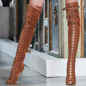 Tan Peep Toe Lace up Boots Stiletto Heel Tassels Long Boots