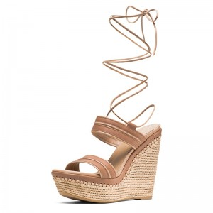 Tan Platform Strappy Wedge Sandals