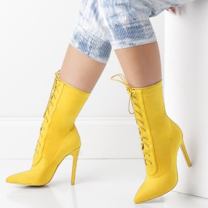 Yellow Pointy Toe Stiletto Boots Lace up Ankle Booties for Women